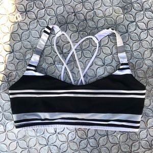 Lululemon Black Striped Sports Bra